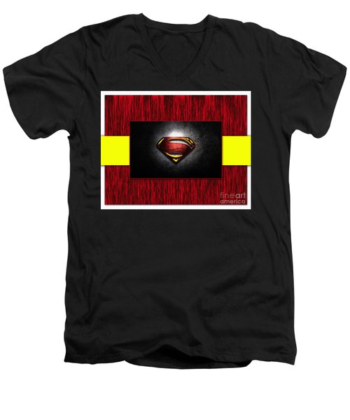 Men's V-Neck T-Shirt featuring the mixed media Superman by Marvin Blaine