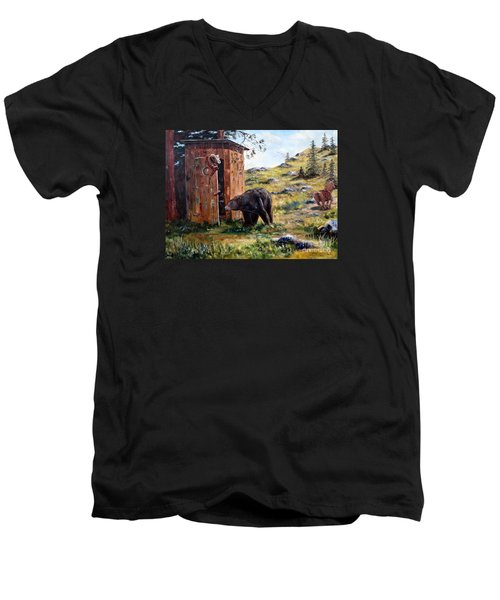 Men's V-Neck T-Shirt featuring the painting Surprise Visit by Lee Piper