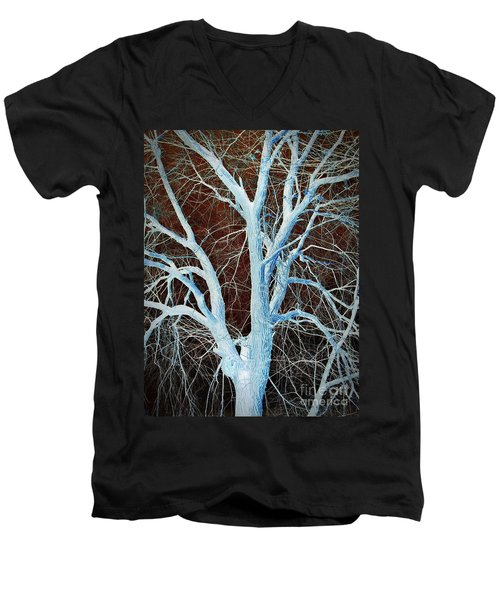 Surreal Blue Tree Men's V-Neck T-Shirt