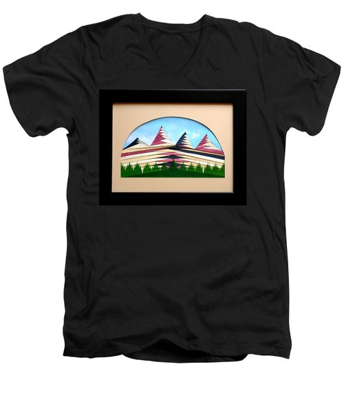 Men's V-Neck T-Shirt featuring the mixed media Sushi by Ron Davidson