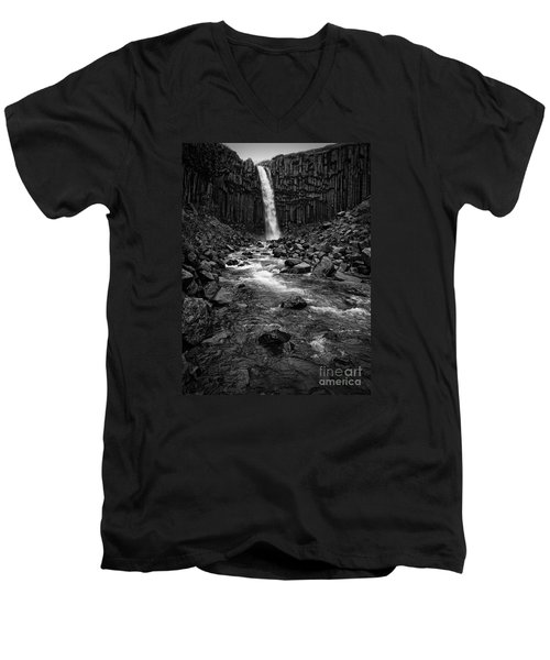 Svartifoss Waterfall In Black And White Men's V-Neck T-Shirt by IPics Photography