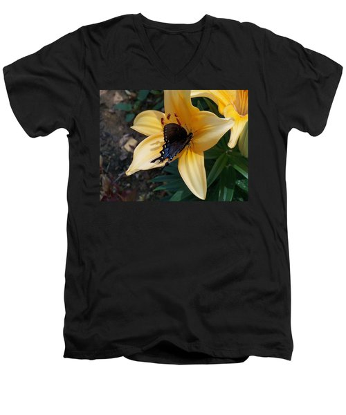 Men's V-Neck T-Shirt featuring the photograph Swallowtail On Asiatic Lily by Kathryn Meyer
