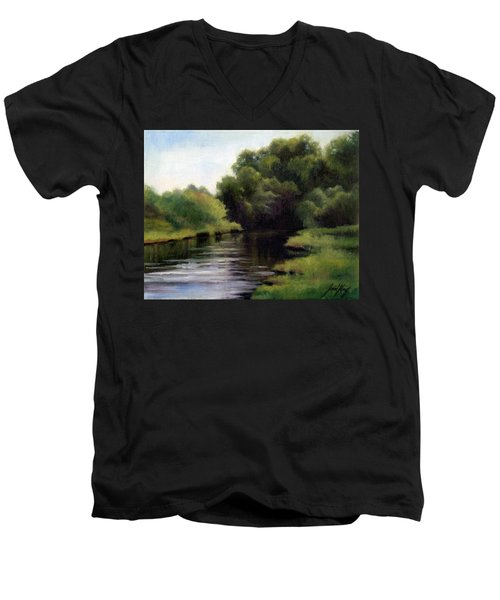 Men's V-Neck T-Shirt featuring the painting Swan Creek by Janet King
