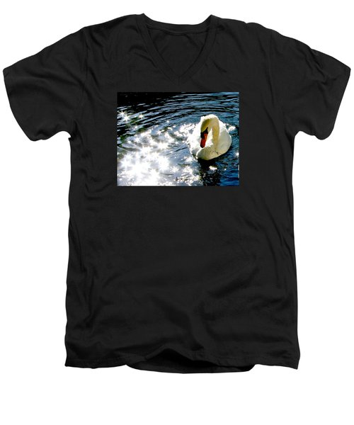 Swan In Sun Sparkles 02 Men's V-Neck T-Shirt
