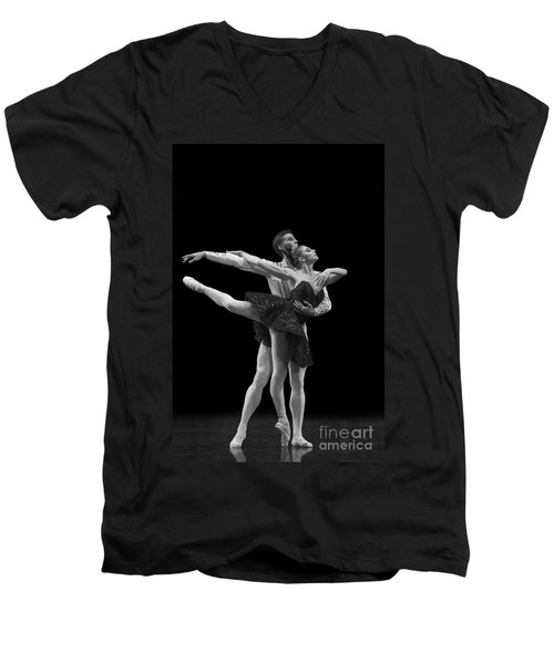 Swan Lake  Black Adagio  Russia  Men's V-Neck T-Shirt by Clare Bambers