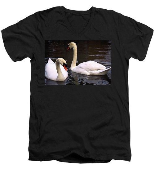 Men's V-Neck T-Shirt featuring the photograph Swan Two by Elf Evans
