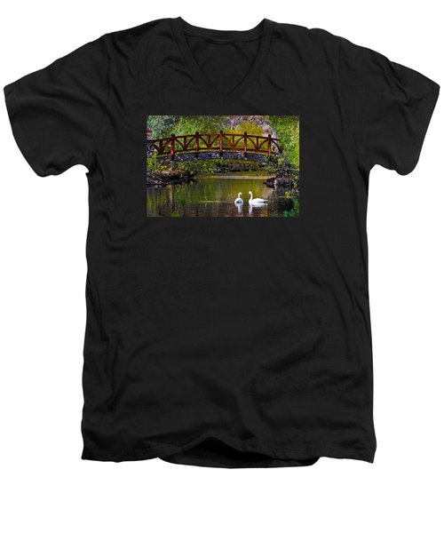 Men's V-Neck T-Shirt featuring the photograph Swans At Caughlin Ranch II by Janis Knight
