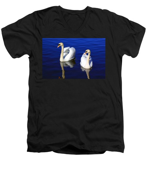 Swans On The Lake Men's V-Neck T-Shirt