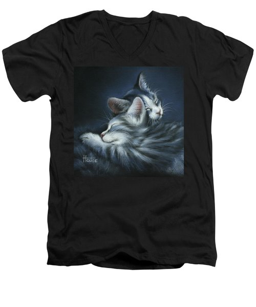 Men's V-Neck T-Shirt featuring the drawing Sweet Dreams by Cynthia House
