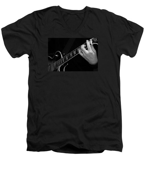Men's V-Neck T-Shirt featuring the photograph Sweet Sounds In Black And White by John Stuart Webbstock