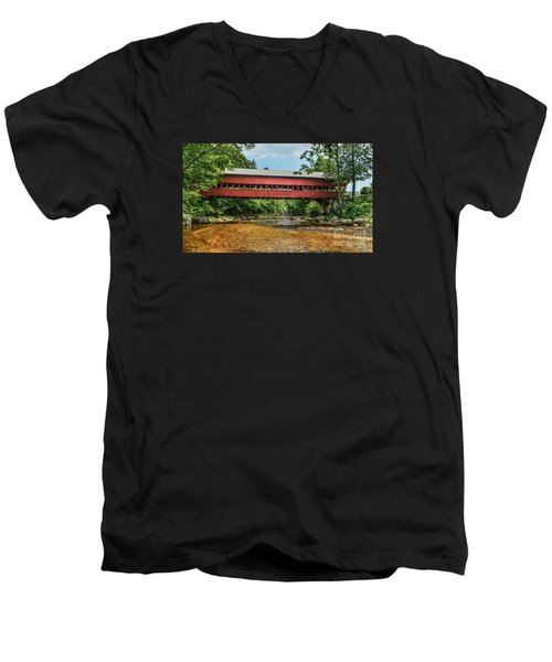Men's V-Neck T-Shirt featuring the photograph Swift River Covered Bridge Hew Hampshire by Debbie Green