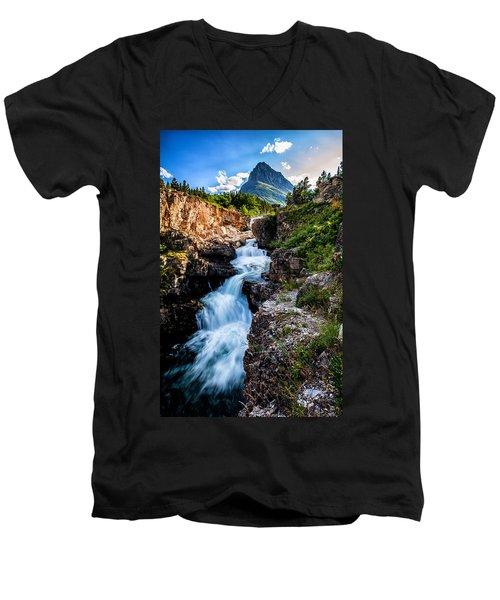 Swiftcurrent Falls Men's V-Neck T-Shirt by Aaron Aldrich