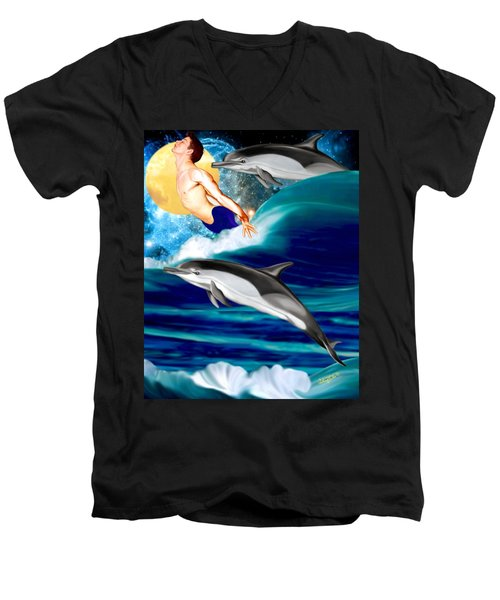 Swimming With Dolphins Men's V-Neck T-Shirt