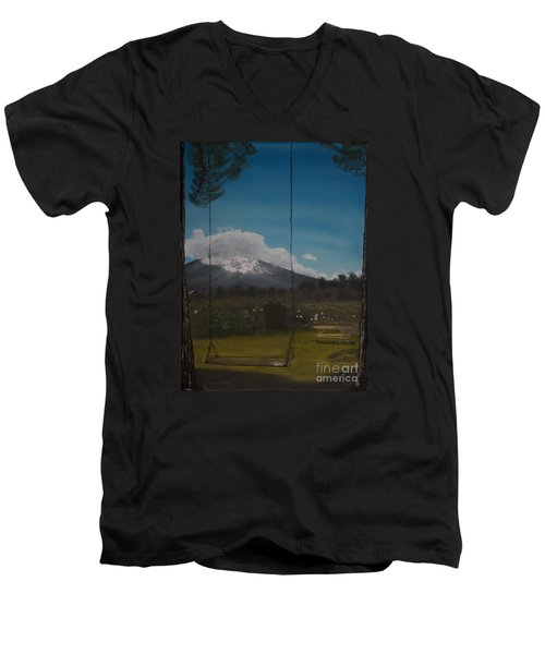 Men's V-Neck T-Shirt featuring the painting Swing On Mt Hoods Fruit Loop by Ian Donley