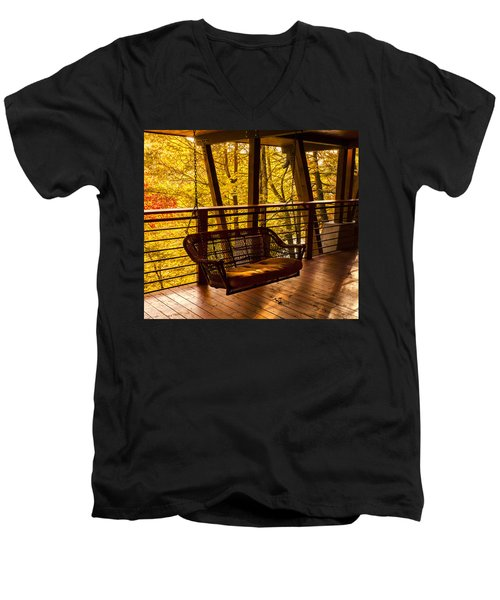 Swinging In Autumn Trees Original Photograph Men's V-Neck T-Shirt by Jerry Cowart