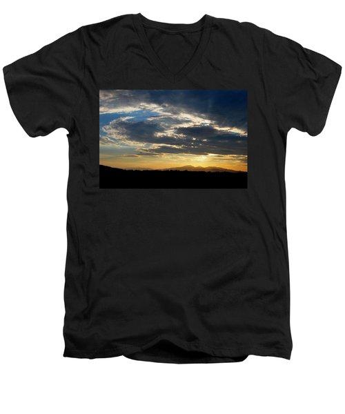 Men's V-Neck T-Shirt featuring the photograph Swirl Sky Landscape by Matt Harang