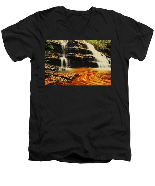 Swirling Leaves Men's V-Neck T-Shirt by Rodney Lee Williams