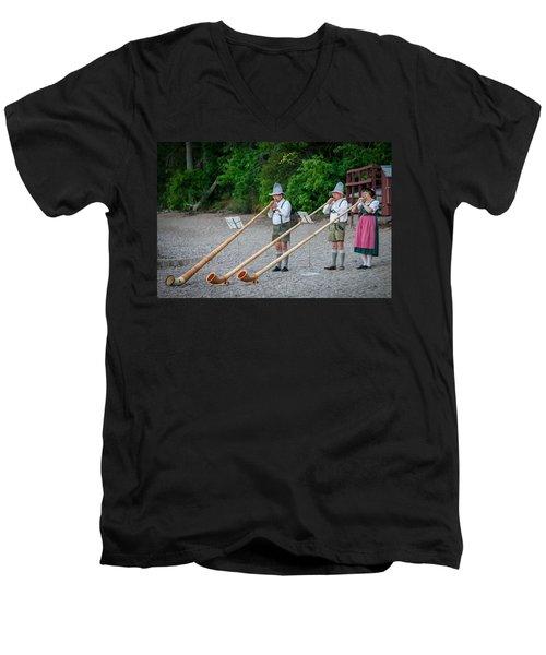 Swiss Alpine Horns Lake Mcdonald Glacier National Park Men's V-Neck T-Shirt