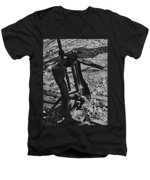 Men's V-Neck T-Shirt featuring the photograph Switching Tracks by Sara  Raber