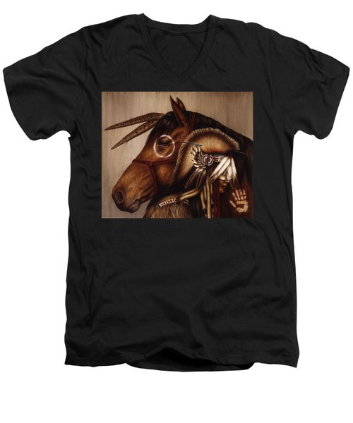 Men's V-Neck T-Shirt featuring the painting Symbionts by Pat Erickson