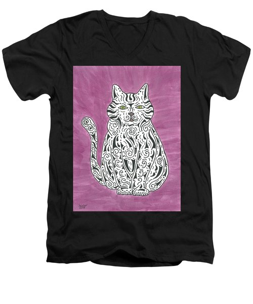Tabby Cat Men's V-Neck T-Shirt by Susie WEBER