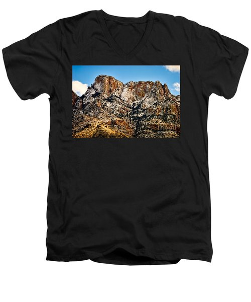Men's V-Neck T-Shirt featuring the photograph Table Mountain In Winter 42 by Mark Myhaver