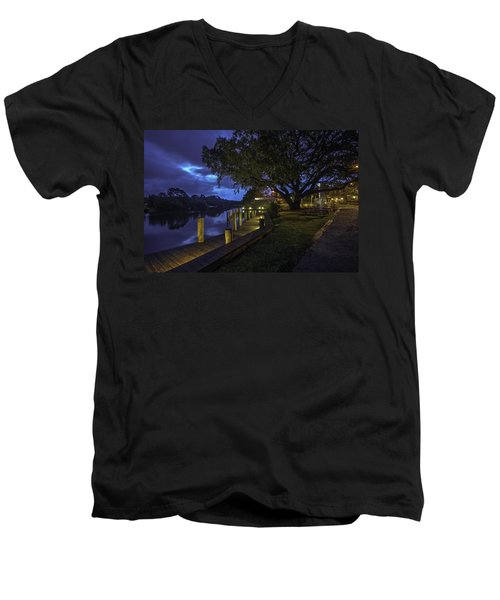 Men's V-Neck T-Shirt featuring the digital art Tacky Jacks Before The Storm by Michael Thomas