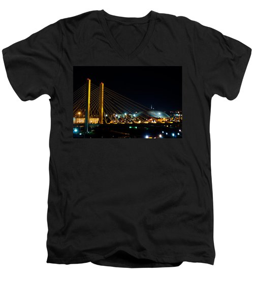 Tacoma Dome And Bridge Men's V-Neck T-Shirt by Tikvah's Hope