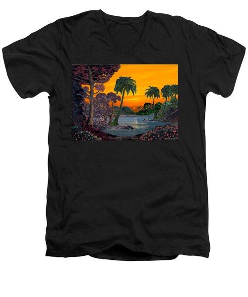 Tahitian Sunset Men's V-Neck T-Shirt by Glenn Holbrook