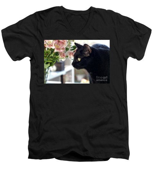 Take Time To Smell The Flowers Men's V-Neck T-Shirt by Peggy Hughes