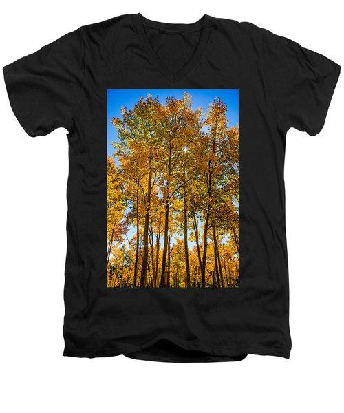 Tall Aspen With Sunstar Men's V-Neck T-Shirt