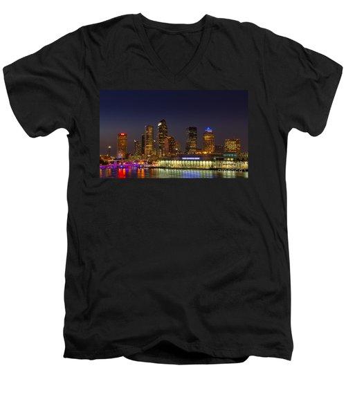 Tampa Lights At Dusk Men's V-Neck T-Shirt by Marvin Spates