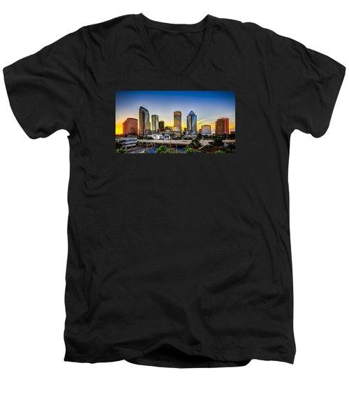 Tampa Skyline Men's V-Neck T-Shirt by Marvin Spates