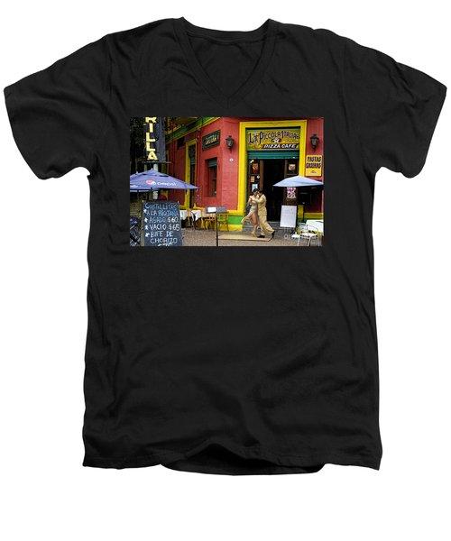 Tango Dancing In La Boca Men's V-Neck T-Shirt by David Smith