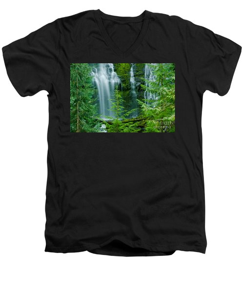 Pacific Northwest Waterfall Men's V-Neck T-Shirt by Nick  Boren