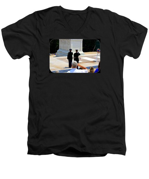 Men's V-Neck T-Shirt featuring the photograph Taps At The Tomb Of The Unknown by Patti Whitten