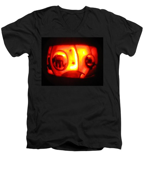 Men's V-Neck T-Shirt featuring the sculpture Tarboy Pumpkin by Shawn Dall
