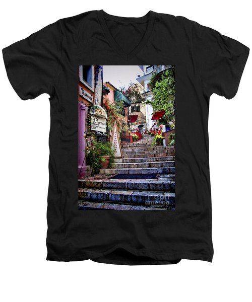 Taormina Steps Sicily Men's V-Neck T-Shirt