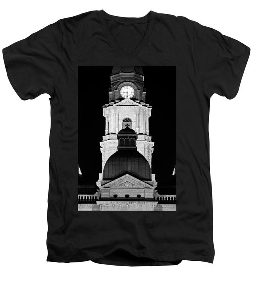 Tarrant County Courthouse Bw V1 020815 Men's V-Neck T-Shirt