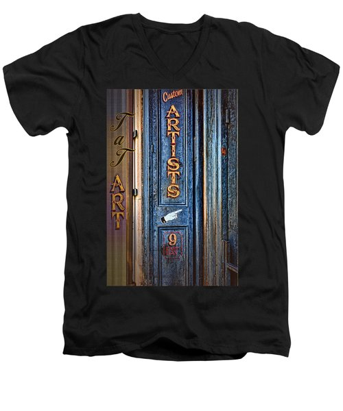 Men's V-Neck T-Shirt featuring the photograph Tat Art by Larry Bishop
