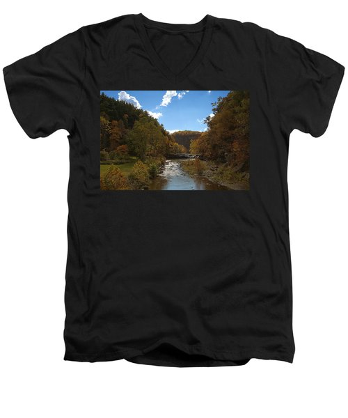 Men's V-Neck T-Shirt featuring the photograph Taughannock Lower Falls Ithaca New York by Paul Ge