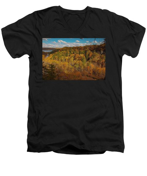 Men's V-Neck T-Shirt featuring the photograph Taughannock River Canyon In Colorful Fall Ithaca New York II by Paul Ge