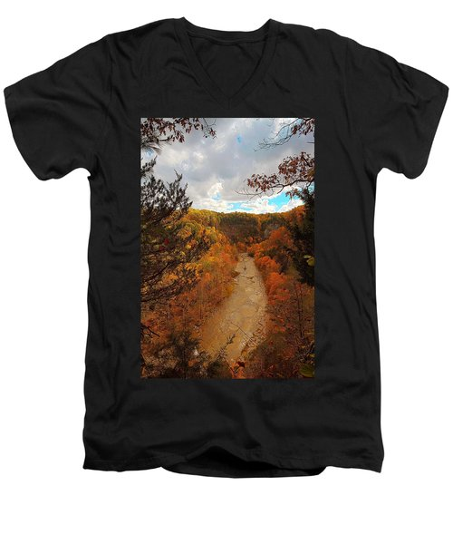 Men's V-Neck T-Shirt featuring the painting Taughannock River Canyon In Colorful Fall Ithaca New York IIi by Paul Ge
