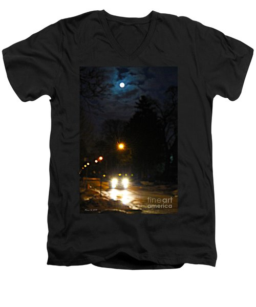 Men's V-Neck T-Shirt featuring the photograph Taxi In Full Moon by Nina Silver