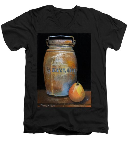 Taylor Jug With Pear Men's V-Neck T-Shirt