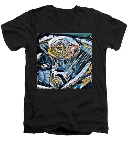 V-twin Blue Men's V-Neck T-Shirt