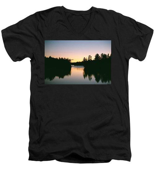 Men's V-Neck T-Shirt featuring the photograph Tea Lake Sunset by David Porteus