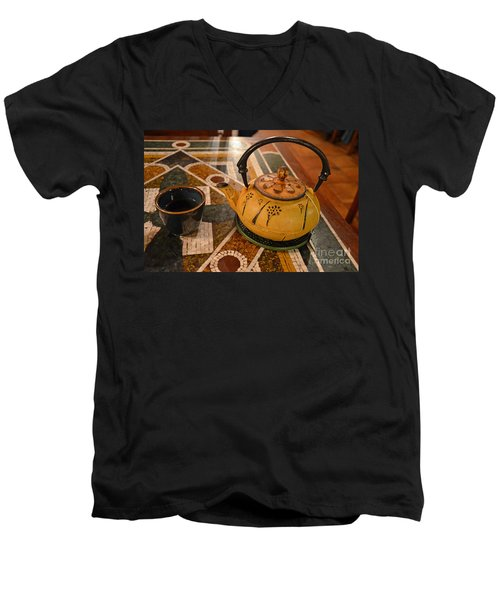 Men's V-Neck T-Shirt featuring the photograph Tea Time In Asia by Robert Meanor