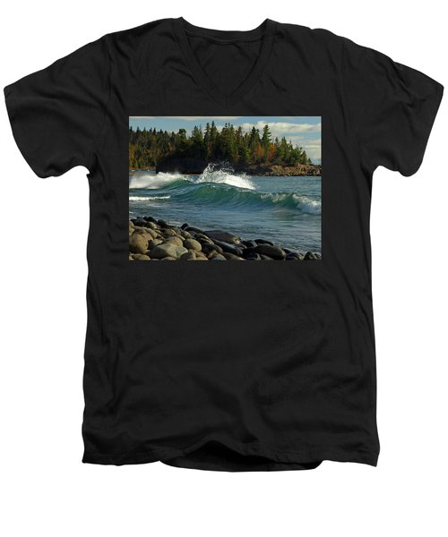 Teal Blue Waves Men's V-Neck T-Shirt