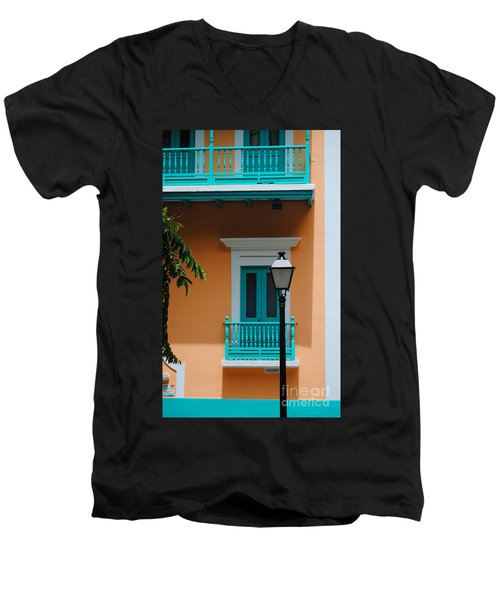 Teal With Pale Orange Men's V-Neck T-Shirt